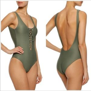 NWT ONIA 1 Pc Bridget Olive Green Lace Up Swimsuit